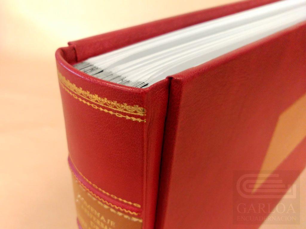 Libro album con 4 nervios en lomo, y tejuelo grabado a mano en oro, con orlas de adorno..