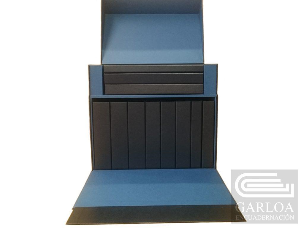 Caja de 1cm de Dm, con solapa y tapa abatible
